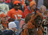 Cleveland Browns fan dressed up in a dog suit for Sunday Oct. 22, 2006 game against the Denver...
