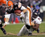 Denver Broncos defensive end and former Cleveland Brown, Ebenezer Ekuban, right, sacks Cleveland...