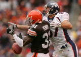 Jereme Perry breaks up a pass intended for David Kircus that resulted in a Browns interception in...
