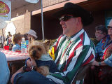 Willie Reuter and his Yorkshire terrier, Chester, are decked for the Bark-B-Que. (HARRISON...
