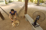 Kampong Chnang, Cambodia.  November 4, 2003.   Setan Lee pets the center's dog,  which Randa named...