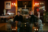 Psychics Hope Hewetson (Cq), left, and Kate deLaGrange(Cq) close their eyes and describe the...