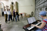 "Rehearsals of the musical comedy, ""Urinetown""  at the Wastewater Management building in..."
