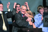 (RMN026) A jubilant Governor-elect Bill Ritter hugs his running mate Lt. Gov-elect Barbara O'Brien...