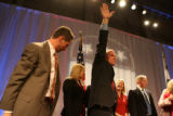 Republican candidate for Governor Bob Beauprez, cq, surrounded by family on stage, waves goodbye...