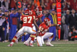 [ES108] - In the First quarter of play Kansas City  cornerback Ty Law , right,  celebrates his...