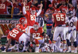[ES108] - In the Fouth quarter Kansas City's Kendall Gammon (83) celebrates the field goal that...