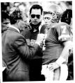 (DENVER, COLO., OCTOBER 20, 1991) Broncos coach Dan Reeves and quarterback John Elway talk after a...