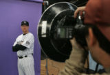 "Colorado Rockies infielder Garrett Atkins, # 27,  has his picture taken durring ""Media..."