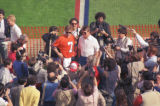 (SAN DIEGO, CAL., JANUARY 26, 1988) Quarterback John Elway and head coach Dan Reeves answer...