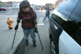 Psalm Shaw (cq) an art student at Metro College in Denver, left handicapped after a traffic...