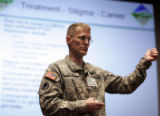 Col. Steven Knorr, Chief, Department of Behavioral Health at Evans Army Medical Center conducts a...