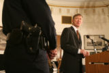 (DLM5886) -  Mayor John Hickenlooper answers questions during a press conference to announce that...