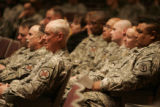Soldiers listen to a Post Traumatic Stress Disorder  training presentation at McMahon Auditorium,...