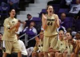 ANN WILLIAMSON/TOPEKA CAPITAL-JOURNAL  The Colorado bench cheers as their team takes the lead in...