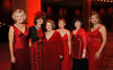 Members of the Hearts for Life Guild, from left, Linda Cook, Sharon Whiton Gelt, President Bobbi...