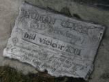 "[JPM577]  In Boulder, a plaque marking Bill Vielehr's ""3-drawings/human glyph series,""..."