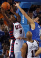 (Helliniko, Greece  on Tuesday, Aug. 17, 2004) -  U.S. basketball's Carmelo Anthony drives to the...