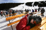 MJM1121  Taking a nap between trips down Copper Mountain, Steve Matthews (cq), of Denver rests on...