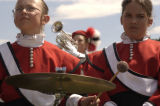 (DENVER, Colo., Aug 3, 2004) Renee St.Jean and Amanda Welsh, together play percussion in the...
