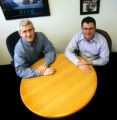 Brad Leiby (cq), left, Chief Technology Architect, and Jonathan Defez (cq), Solutions Architect,...