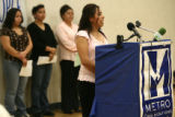Hermelinda Alvarez, cq, 17, former Cole student, now a junior at North High speaks at a press...