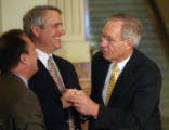 L to R: U.S. Rep. Ed Perlmutter (cq) D-Co, Colorado Governor Bill Ritter (cq) and U.S. Sen. Wayne...