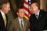 L to R: U.S. Sen. Wayne Allard (cq) D-Co., U.S. Rep. Ed Perlmutter (cq) D-Co., and U.S. Sen. Ken...
