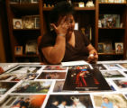 (DLM5362) -  Melissa Rodarte weeps for her son Gilbert Garcia as photos of him that will be...