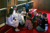 Rev. Debby Lawrence (cq) delivers a children's sermon Sunday morning February 11, 2007, at...