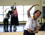 Choreographer Lila York, right, works with Artists of the Colorado Ballet Igor Vassine and Chandra...