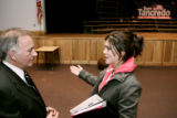 Congressman Tom Tancredo, left, talks with student Shelby Rocha during a visit to Merrimack Valley...