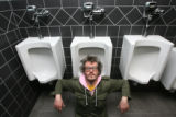 Ben Kronberg (cq), in the bathroom of Comedy Works, 1226 15th St., Larimer Square, Denver, Colo.,...