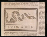 """Join, or Die,"" cartoon in The Pennsylvania Gazette, Benjamin Franklin, Library Company..."