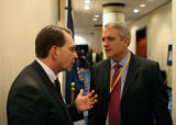 Washington D.C. Feb. 26, 2007- Colorado Governor Bill Ritter, speaks to his Chief of Staff Jim...