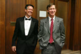 Denver Mayor John Hickenlooper, right, and Randy St. Pierre (cq), James Bond impersonator, enjoy a...