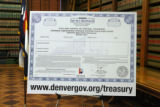 "A large copy of the new Denver ""007"" Mimi-Bond during a press conference Tuesday..."