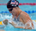 (ATHENS, GREECE-AUGUST 19, 2004)  United State's Amanda Meard swims for the gold medal in the...