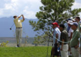 (Castle Rock, Colo., August 5, 2004) Stuart Appleby tees off on the 6th hole of the first round of...
