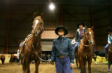 Barrel Racer Kachena Lesmeister, of Gillette, WY., prepares to ride at the Qualifier at the Fort...