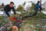 DLM00089   Skip Thurman, left, uses one of his chain-saws to his neighbor Jason Shimkos, right,...