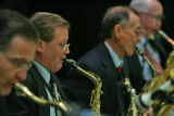 Musicians with the Dean Bushnell Orchestra perform at the 59th Annual Golden Wedding Anniversary...