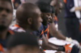 (BG960) Denver Broncos Al Wilson and the Defense sits dejected as the final second tick down as...