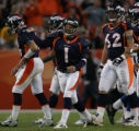 (JPM444) Denver Broncos kicker Jason Elam, #1, reacts to kicking a 49-yard field goal with 1:54...