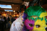 (DLM0336) -  Employee Gayle Ginsberg dressses as a Mardi Gras queen at the Ritz, a costume and...