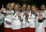 Kent Denver players celebrate winning the Girl's State Field Hockey Championship as Kent Denver...