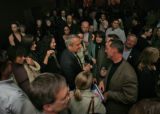 The crowd closes in around Governor-elect Bill Ritter as he greets a crowd of supporters on...