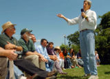 (8/06/2004, GOLDEN, CO)    John Kerry addresses questions on The Nelson Farm in Smithville, MO....