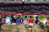 (8/06/2004, GOLDEN, CO)    People wait to hear John Kerry and John Edwards speak to them on The...