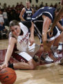 CAPS106 - Stanford forward Jayne Appel (2) dives for the ball in front of BYU center Cassie King,...
